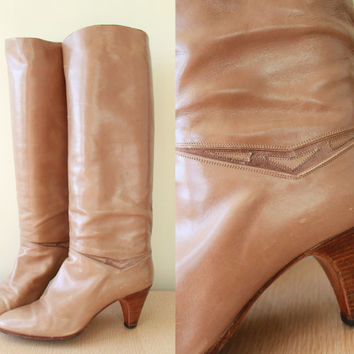 Vintage - 70s/80s - BALLY - Tan Brown Leather - V Cut Out - Tall - Knee Hi - High - Wood Stack - High Heel Boots - 9 - Italy - Boho - Glam