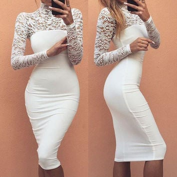Turtleneck Long Sleeve Lace Midi Sexy Club Bandage Bodycon Dress 2016 Autumn White Red Black Women Elastic Elegant Party Dresses