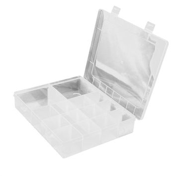 14-Grid Plastic Adjustable Jewelry Organizer Box Storage Container Case with Removable Dividers
