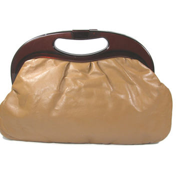 Vintage Brown Leather Purse with Plastic Handle