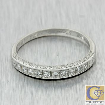 1930s Antique Art Deco Estate Platinum .20ctw Diamond Wedding Band Ring