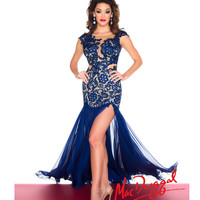 (PRE-ORDER) Mac Duggal 2014 Prom Dresses - Sapphire Chiffon & Lace Form-Fitting Bodice Prom Gown