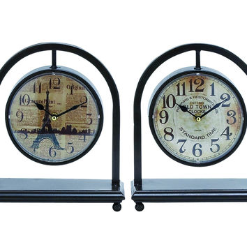 Metal desk clock assorted in french style (set of 4)