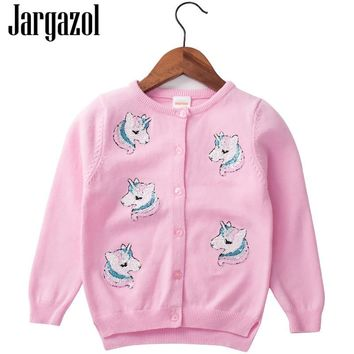 Jargazol Baby Girl Sweater Cartoon Unicorn Sequins Embroidery Cotton Kids Cardigan Cute Christmas Sweaters Coat