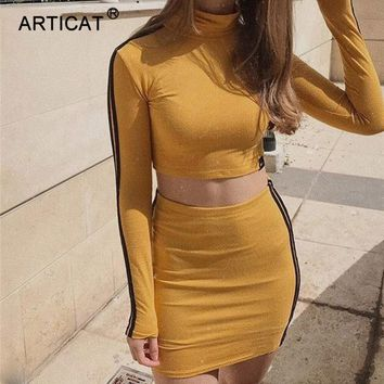 Articat Two Piece Set  Striped Women Summer Dress Women 2018 Long Sleeve Cropped Bodycon Mini Dress Sexy Party Dress Women Short