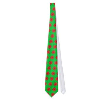 red flower christmas tie