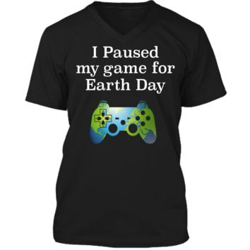 Earth Day 2018 Boys Kids Shirts Paused Game for Gift Idea Mens Printed V-Neck T