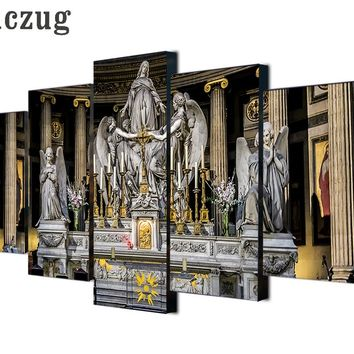5 Pieces Canvas Art Jesus Christian church Painting W