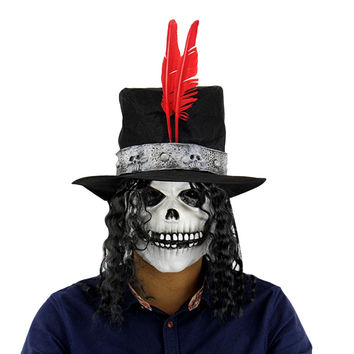 Newest Horror Ghost Latex Mask Long Wig Count Skull Masquerade Full Face Halloween Party Bar Supply Mask & Hat Set