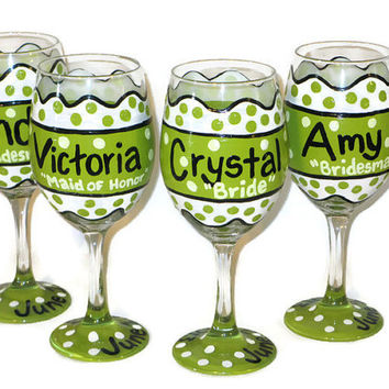 Shop Hand Painted Bridesmaid Wine Glasses on Wanelo