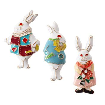 Metal Enamel Mr Miss Rabbit Alice In Wonderland Brooches Badges For Women Girls Gifts Backpack Clothing