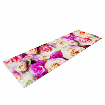 "Dawid Roc ""Sweet Pastel Pink Rose Flowers"" Multicolor Floral Yoga Mat"