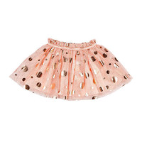 Kardashian Kids Girls Light Pink Fully Lined Soft Tulle with Gold Foil Polka Dot Skirt