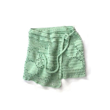Mint Green Crochet Pareo Summer Sarong Scarf Beach Cover-up Swim wrap Wrap Skirt Flowery, Floral, Summer Fashion
