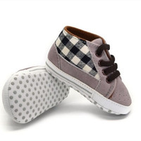 Baby Boy Plaid Soft Sole Shoes