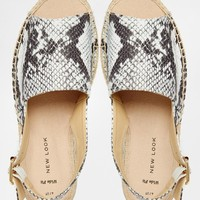 New Look Wide Fit Hespy Faux Snakeskin Slingback Flat Espadrille Sandals