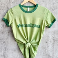 distracted - shenanigans - saint patrick's day ringer cotton tee - green