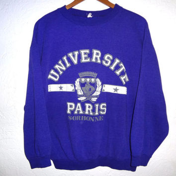 Vintage 80s Universite du Paris Sorbonne France - University of Paris - Crewneck - Medium Women's Sweater - Purple -