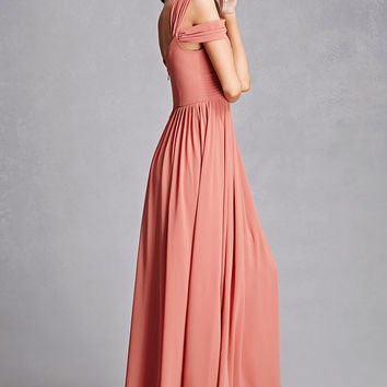 V-Neck Pleated Maxi Dress