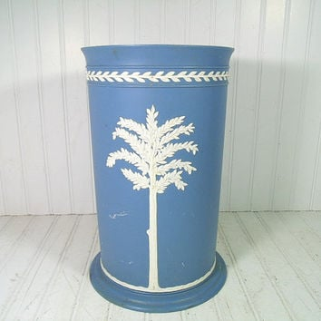 Vintage Wedgwood Style Plastic Tall Waste Can - Retro JasperWare Blue with White OverLay Boudoir Bin - Fesco CornFlower Blue Umbrella Stand