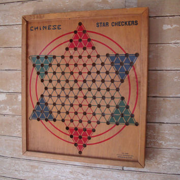 Vintage Retro Chinese Checker Board  Made in the USA