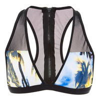 Printed Mesh-Paneled Racer-Back Bikini Top