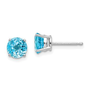 14k White Gold 6mm Genuine Blue Topaz Round Stud Earrings