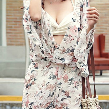 Off White Halter Floral Print Push-Up Three-Piece Swimsuit