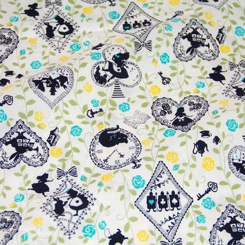 50cm*110cm Japanese Kokka Cotton Fabric Patchwork Quilting Fabric for sewing Vintage Alice in Wonderland   B