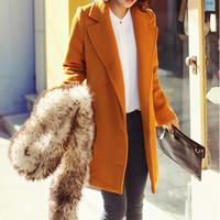 Yellow cape winter coat double breasted wool coat woolen jacket cashmere jacket BJ41,s,m,l,xl