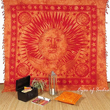 EYES OF INDIA - QUEEN BROWN INDIAN HIPPIE MANDALA SUN and MOON TAPESTRY BEDSPREAD Beach Dorm Dec