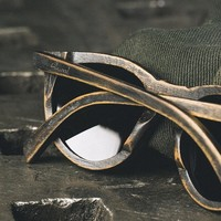 Belmont Distressed Dark Walnut Sunglasses by Shwood: Clothing, Shoes & Jewelry