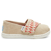 TOMS Natural and Red Embroidered Tiny TOMS Classics Natural