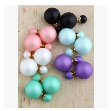 new fashion Cheap Price Fashion Double Sides Matt Candy Color Round Ball Stud Earrings For Lady free crystal jewelry