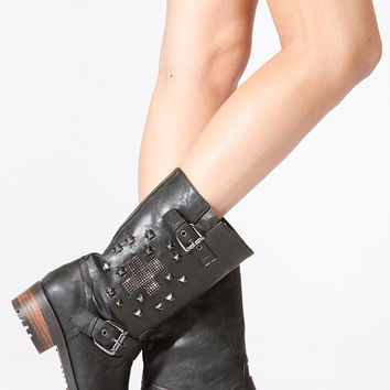Black Faux Leather Cross Studded Riding Boots
