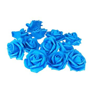 Foam Roses Flower Head Embellishment, 3-Inch, 12-Count, Turquoise