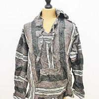 Vintage Festival Striped Mexican Brown Grey Baja Hippy Jumper Hoody Jacket XL