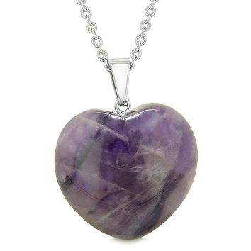 Lucky Puffy Heart Charm Crystal Purple Quartz Good Luck Protection Powers Amulet Pendant Necklace