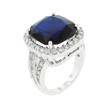 Deep Blue Sapphire Engagement Ring Size 9