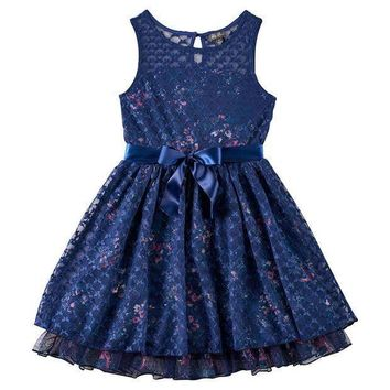 Lily Rose Floral Print Mesh Skater Dress   Girls