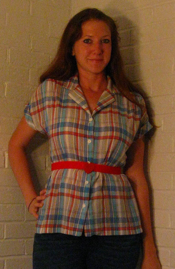 1980s Madras Plaid Shirt. Short rolled sleeves. Lightweight and feminine. M/L