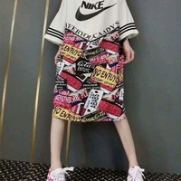 DCCK6HW Nike' Women Casual Fashion Multicolor Letter Pattern Print Loose Long Sleeve Round Neck T-shirt Dress