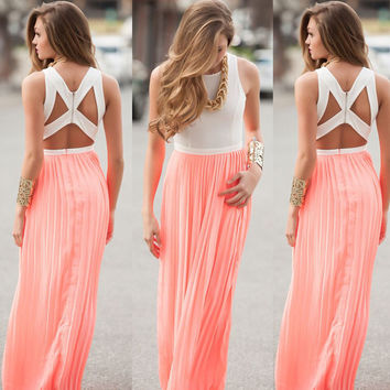 Sexy Zippers Backless Pleated Chiffon Pink Prom Dress One Piece Dress [4919472260]