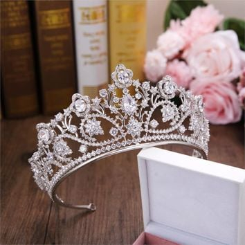 Big Silver Paved Zircon Crown Full Cubic Zirconia Tiara Wedding Hair Accessories Cosplay Costume