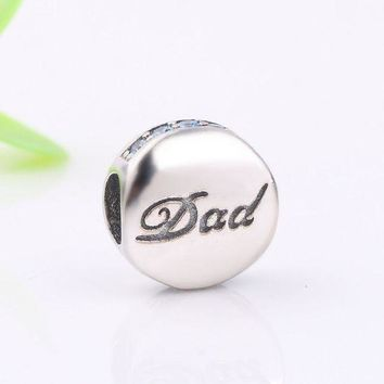ac spbest Ranqin New Fashion 925 Sterling Silver Dad Charm Beads Fit Original Pandora Bracelet Pendant Authentic DIY Jewelry Father