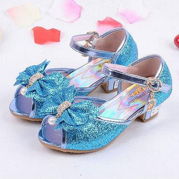 Girls sandals 2016 high heels children fashion princess leather summer elsa shoes chaussure enfants fille sandalias nina 718