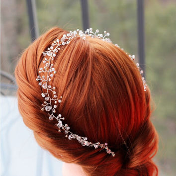 Wedding headband, Crystal Bridal headband, Bridal crown, Bridal tiara, Bridal halo, hair vine, Bridal hair accessories, wedding accessory