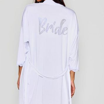 Something Blue Diamante Bride Robe | Boohoo