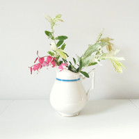 White and Blue Band  Vintage China Pitcher
