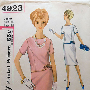1960s Vintage Sewing Pattern - Simplicity 4923 - Two Piece Dress Junior Size 13 Bust 33